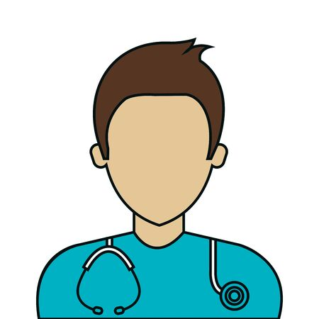 male paramedic with stethoscope avatar isolated icon vector illustration design