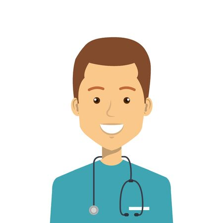 male paramedic with stethoscope isolated icon vector illustration design