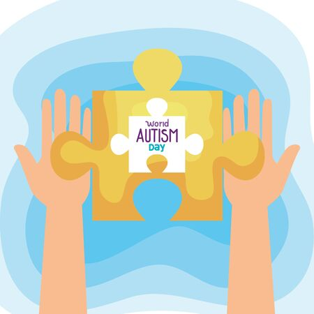 world autism day with hands and puzzle piece vector illustration design