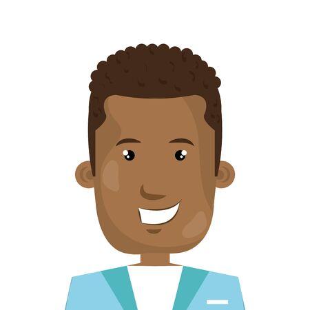 male afro paramedic avatar character icon vector illustration design Illustration