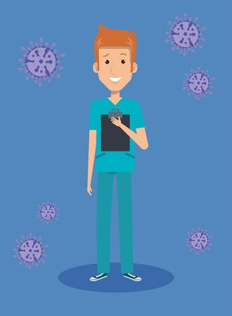 male paramedic with particles covid 19 vector illustration design