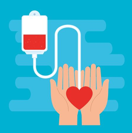 hand with bag of blood donation vector illustration design