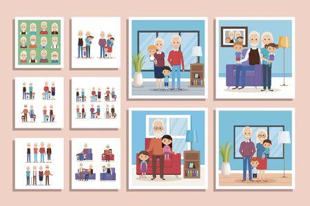 bundle of scenes grandparents with grandchildren vector illustration design