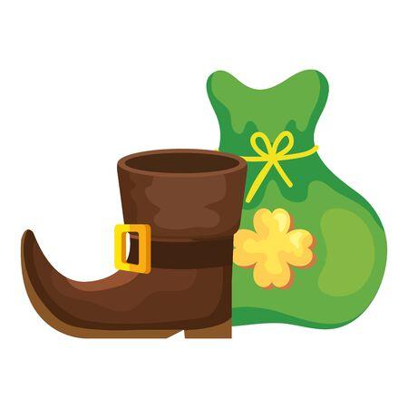 leprechaun boot with bag money isolated icon vector illustration designicon Ilustracja