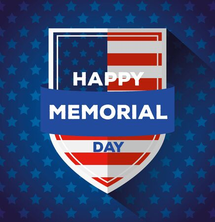 happy memorial day with shield decoration vector illustration design