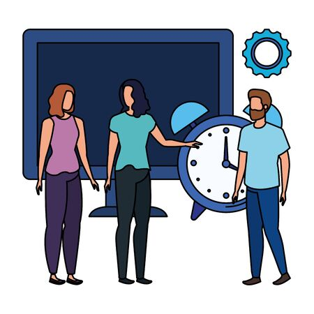 group of people with desktop computer vector illustration design