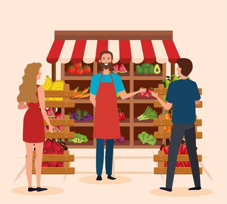 salesman in the natural store with man and woman customers over pink background, vector illustration Çizim