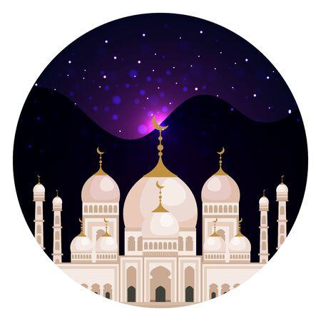 taj mahal mosque building at night vector illustration design Ilustração