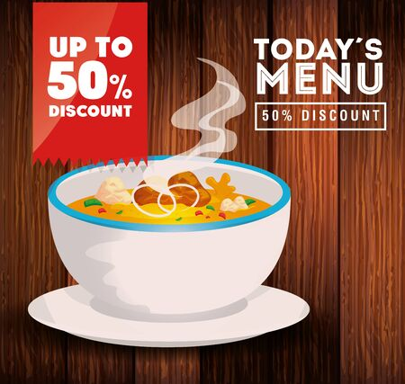poster of today menu with soup and fifty discount vector illustration design