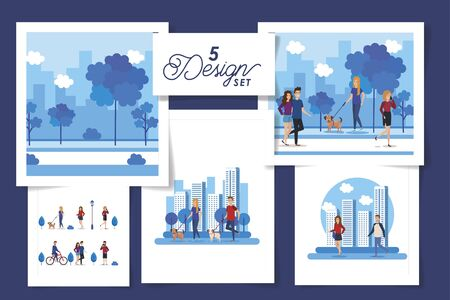 set five designs of young people with park and cityscape scenes vector illustration design