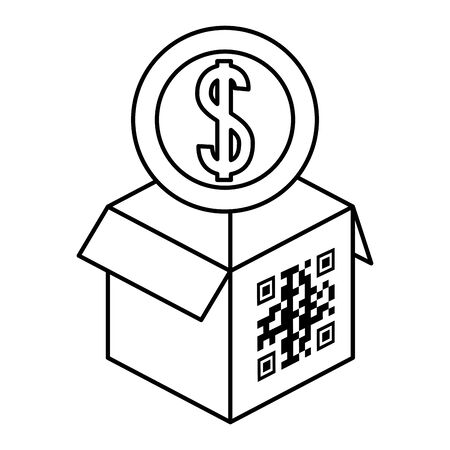 qr code over box and coin design of technology scan information business price communication barcode digital and data theme Vector illustration Stock Illustratie