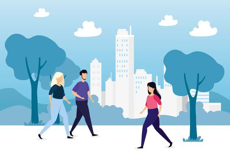 urban scene with people avatar characters vector illustration design