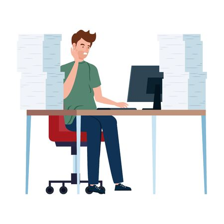 man with stress attack in workplace isolated icon vector illustration design
