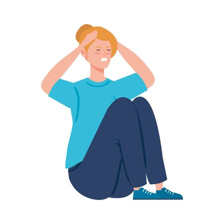 woman sitting with stress attack isolated icon vector illustration design