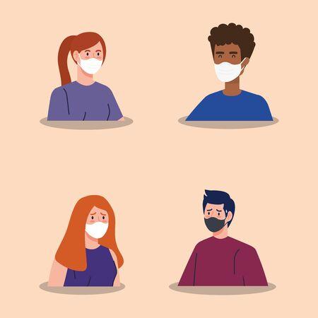 group people using face mask vector illustration design 向量圖像
