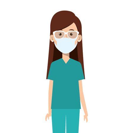 female paramedic using face mask isolated icon vector illustration design Illustration