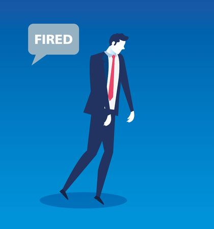 businessman unemployed with fired label in speech bubble vector illustration design