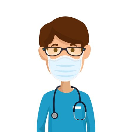 male paramedic using face mask with stethoscope vector illustration design