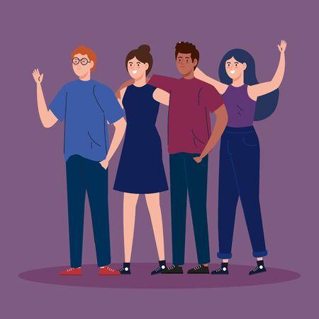 group young people together avatar characters vector illustration design Ilustração