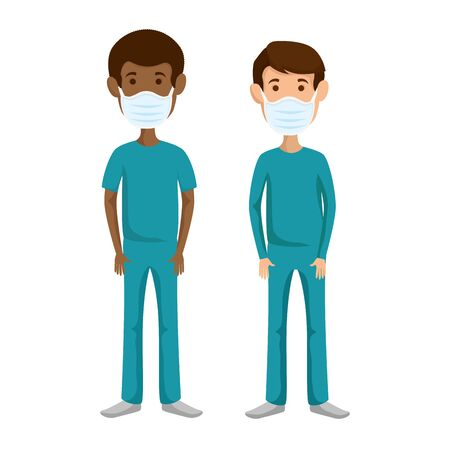 group men paramedics using face mask isolated icons vector illustration design