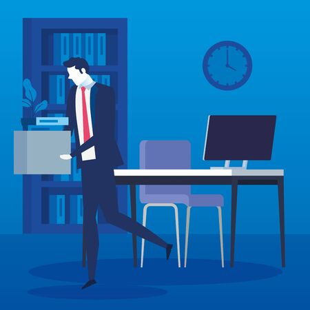 businessman unemployed sad and box with objects vector illustration design