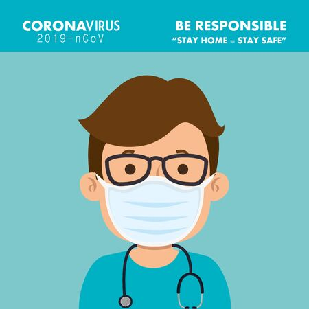 campaign of be responsible stay at home with paramedic using face mask vector illustration design Çizim