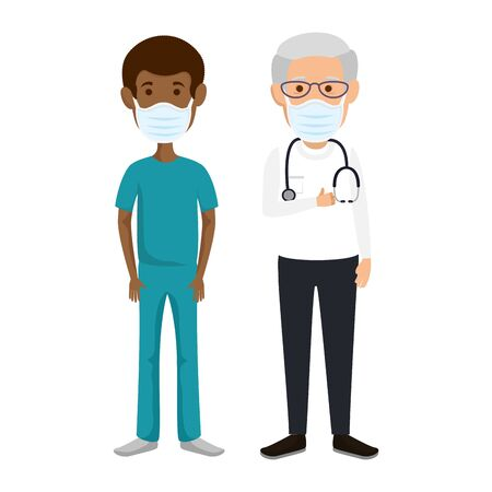 old doctor male with paramedic using face mask vector illustration design