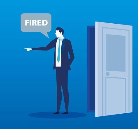 scene of fired of businessman avatar character vector illustration design
