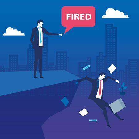 scene of businessmen unemployed in precipice vector illustration design