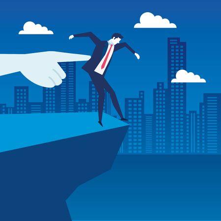 scene of businessman unemployed in precipice vector illustration design