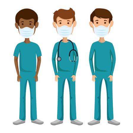 group men paramedics using face mask isolated icons vector illustration design 版權商用圖片 - 145821594