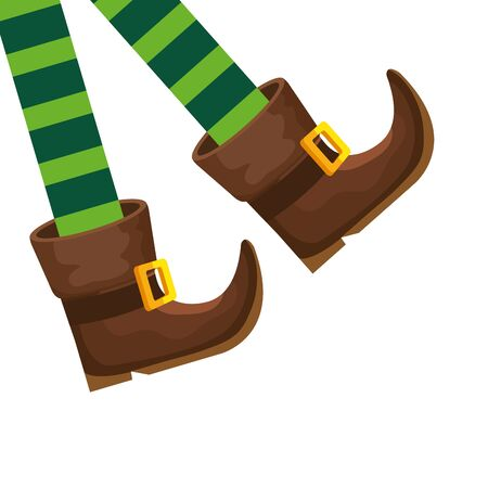 Leprechaun legs with boots isolated icon on white