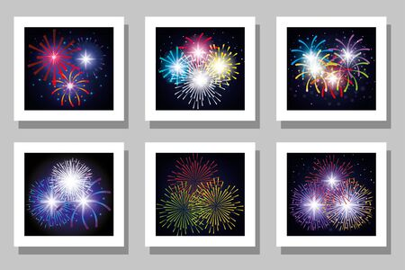 Fireworks frames set design, Celebration festival event holiday party anniversay explosion and festive theme Vector illustration