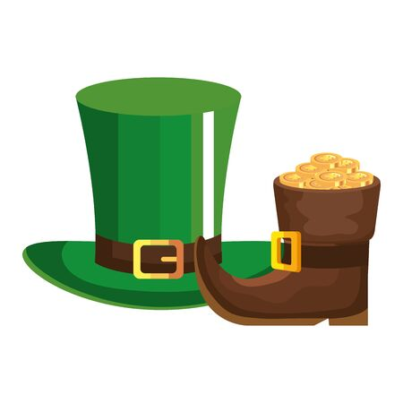 leprechaun boot with top hat and coins vector illustration designicon