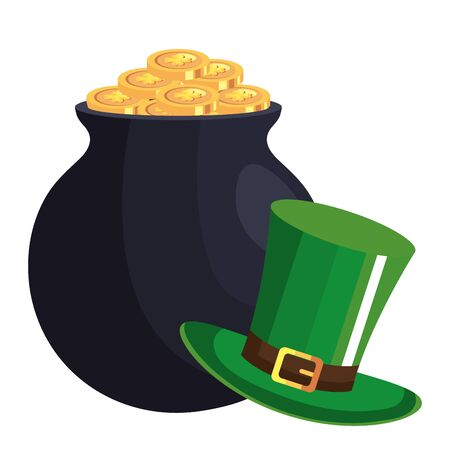 top hat leprechaun and cauldron with coins isolated icon vector illustration designicon