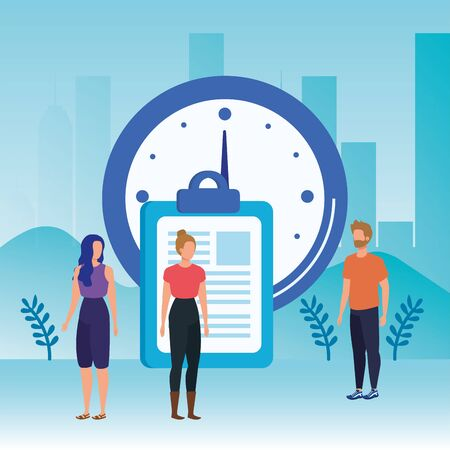 group of people with time clock vector illustration design Archivio Fotografico