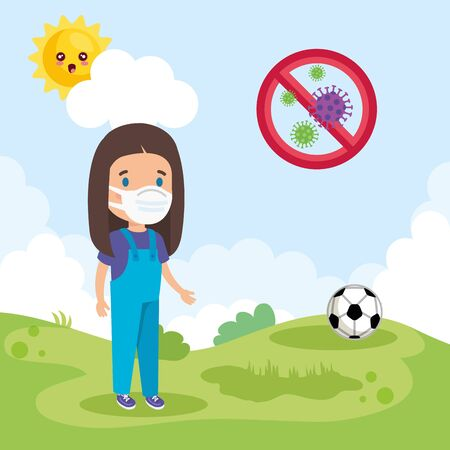 cute girl using face mask playing in landscape vector illustration design Фото со стока