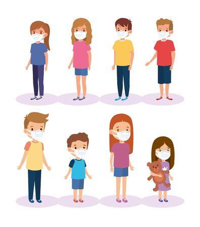 cute group children using face mask vector illustration design