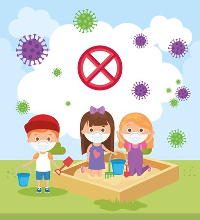 cute children using face mask playing in park vector illustration design
