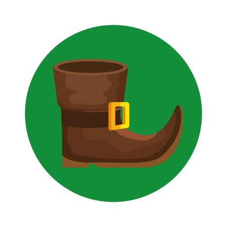 leprechaun boot in frame circular isolated icon vector illustration designicon