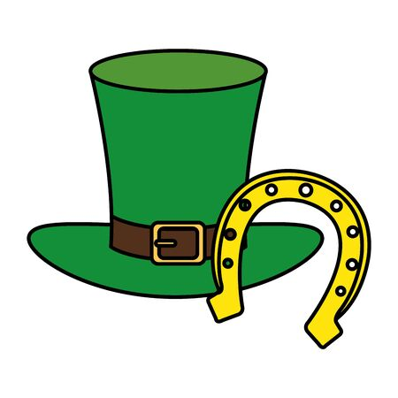 top hat leprechaun with horseshoe isolated icon illustration design icon