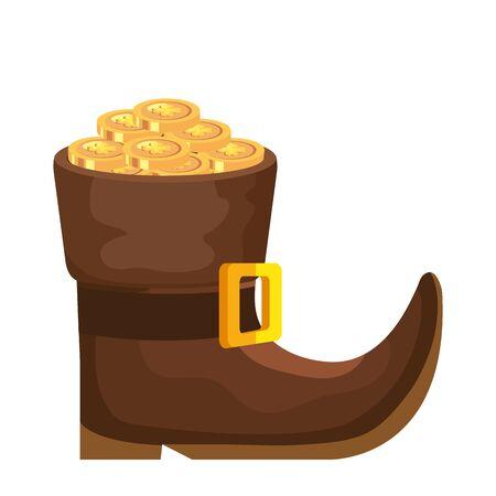 leprechaun boot with coins isolated icon vector illustration designicon Zdjęcie Seryjne
