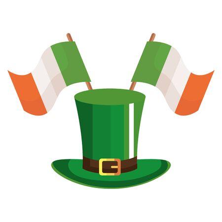 top hat leprechaun with flag ireland isolated icon illustration design icon