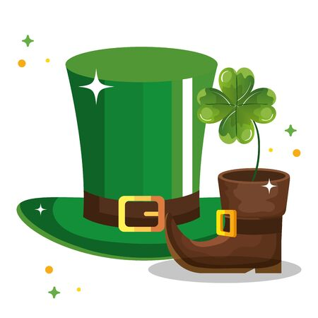 top hat leprechaun and boot with clover illustration design icon