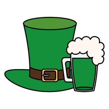 top hat leprechaun with beer jar isolated icon illustration design icon