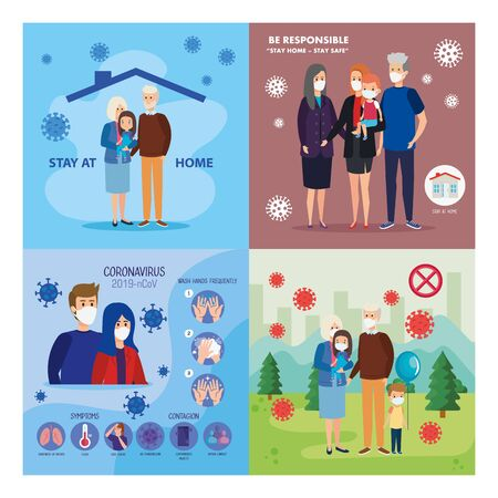 set scenes of families using face mask and particles covid 19 vector illustration design