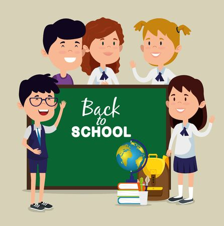 girls and boys with blackboard with books and global map to back to school vector illustration Фото со стока