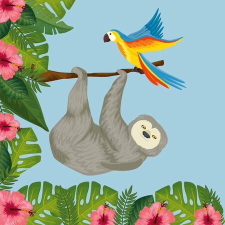 bear sloth hanging of branch with parrot and flowers vector illustration design