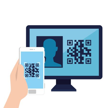qr code inside computer and smartphone design of technology scan information business price communication barcode digital and data theme illustration