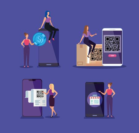 business women with smartphones and code qr vector illustration design